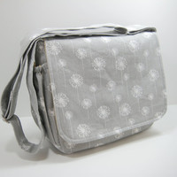 Gray Diaper Bag, Messenger Bag, Cross Body Bag in Dandelion Print
