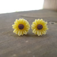 Yellow earrings,sunflower earring,sunflower jewelry
