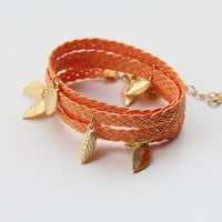 Orange Braid wrap Bracelet leafs charms twisted by TheUrbanLady