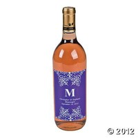 Purple Personalized Monogram Wine Bottle Labels, Bottle Labels, Tableware, Party Themes & Events - Oriental Trading
