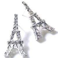 Silver Plated Sparkling Crystal Eiffel Tower Paris France Theme Stud Earrings