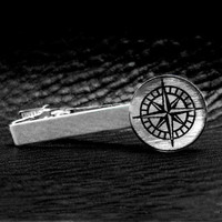 Rose Compass Nautical Silver Leaf Tie Clip by Cuftlynx on Etsy