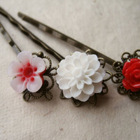 Flower Hair Pins Red and White Collection by PiggleAndPop
