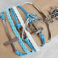 leather bracelets -cross infinite cross&anchor braclets  blue rope white leather bracelets personalized bracelets N066