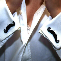 Black Mustaches Cufflinks Handlebar Style by BijottiCiciotti