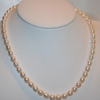 Beautiful Soft Pink Freshwater Pearl Wedding or Bridesmaid Necklace