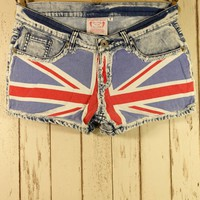 Union Jack  Washed Denim Shorts