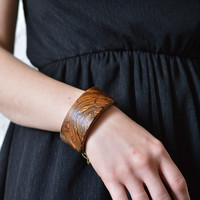 The midnight wind in Paris- Red brown yellow bocate wood bracelet bangle cuff