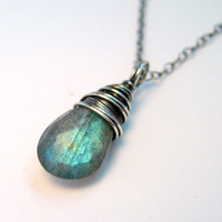 Labradorite Necklace Oxidized Sterling Silver by NaturallySterling