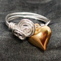 Silver wrapped Gold Heart Ring