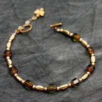 Olivine Ankle Bracelet w/Dangling Gold Butterfly