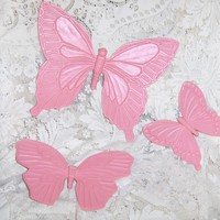 Vintage Syroco Inc 3-pc Pink Butterfly Wall Hanging Set