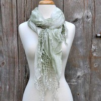 Gypsy 05 Mint Green Scarf at OurChoix.com, Boho Clothing, Vintage Style Clothing, Artisan Jewelry