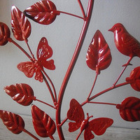gorgeous RED metal Branch with leaves birds by MamaLisasCottage