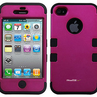 New Apple iPhone 4/4S/4G/4GS TUFF Pink Rubberized Hard Hybrid Case Cover Holder