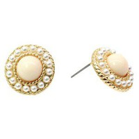 Button Earrings With Mini Pearl Beading - Pearl