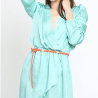 Love Aqua Wrap Dress- Love Long Sleeve Wrap Dresses- Love Dresses- $64.99