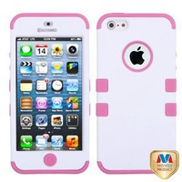 Rubberized Ivory White/Light Pink TUFF Hybrid Protector Cover Case for Apple iPhone 5