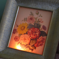 Vintage Lighted Picture 1950s Floral Retro Picture Light Gold Frame Mid Century