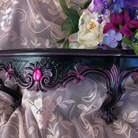 Vintage Gothic Black Wall Shelf with Magenta Jewels Hand Painted Hollywood Regency