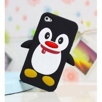 Black Penguin Silicone Soft Case Cover for Iphone 4 4g 4s