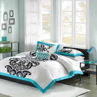 Florentine Teal Modern Printed Duvet Cover Set Size: Full/Queen