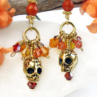 Colorful Crystal Cluster Skull Earrings Coral Day of the Dead Handmade