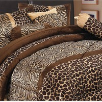 7 Piece Safari - Zebra - Giraffe Print Brown Micro Fur Comforter Set, Bed in Bag, Queen Size