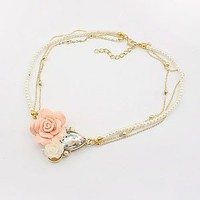 Fashion Flower&amp;Pearl Bib Necklace at Online Jewelry Store Gofavor
