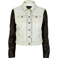 Light wash leather look sleeve denim jacket - jackets - coats / jackets - women