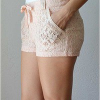 Trendy Clothing, Fashion Shoes, Women Accessories | Lace Shorts in Ivory  | LoveShoppingMiami.com
