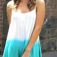 Teal Ombre Sleeveless Asymmetric Dress with Crochet Hem