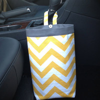 Car Trash Bag CHEVRON YELLOW, Women, Men, Car Litter Bag, Auto Accessories, Auto Bag, Car Organizer