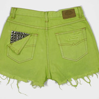 High Waisted Button Fly Dyed Hyper Acid Green by shopbigbadwolf