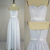 Cheap 2013 Strapless Sweetheart Floor Length Chiffon Pure White Prom Dresses from 2013 New Dresses
