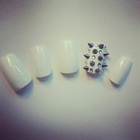 Rhinestone Studded Spiked Nail Art Nail Tips by ChicNailz on Etsy