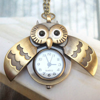 Retro Copper Open Wing Owl Pocket Watch Necklace Pendant Vintage Style		 - Animal