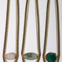 Janna Conner, Double brass chain and stone necklace