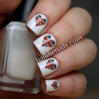 Union Jack Heart Nail Art Water Transfer Decal