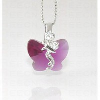 Rose Red Butterfly Swarovski Crystal With Sterling Silver Fairy Pendant