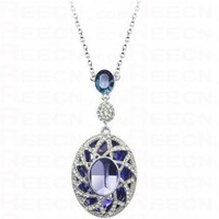 Purple Round Amethyst With Blue Swarovski Crystal Pendant
