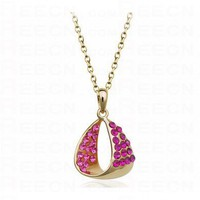 Teardrop With Rose Red Diamond Pendant