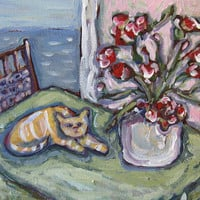 Cat Still Life Original Acrylic Painting on Canvas