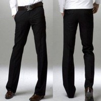 Black Slim Straight Trousers