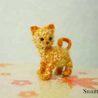Tiny Cute Cat  Kitten  Micro Crochet Mohair House Cat  by SuAmi