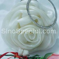 Beautiful White Flower Organza Evening Handbag-SinoSpecial.com