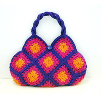 Knitted Bag in Purple Fuscia and Orange colours