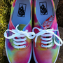 Psychedelic Vans #ombre #tiedyevans #vans #tiedye #dipdye #shoes