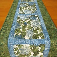 Quilted Table Runner, Floral Handmade Table Runner, Table Runner