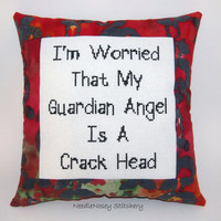 Funny Cross Stitch Pillow, Red And Black Pillow, Guardian Angel Quote